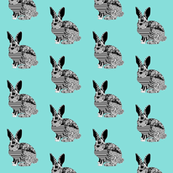 floral rabbit on mint
