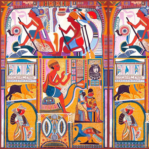 ancient egypt egyptian hieroglyphics boats tribal folk art gods sun dogs birds eyes queens kings queens