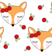 foxes-with-red-rosebuds on white