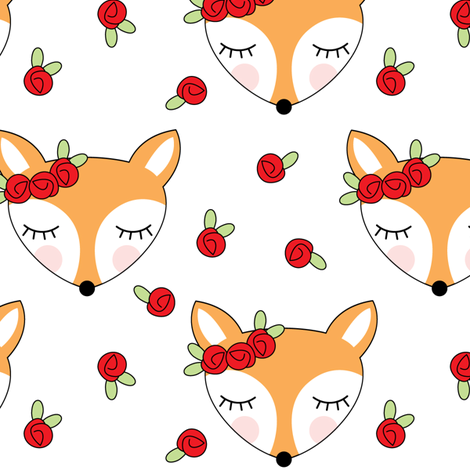 foxes-with-red-rosebuds on white fabric by lilcubby on Spoonflower - custom fabric