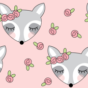 raccoons-with-pink-rosebuds on pink