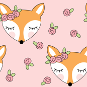 foxes-with-pink-rosebuds on pink