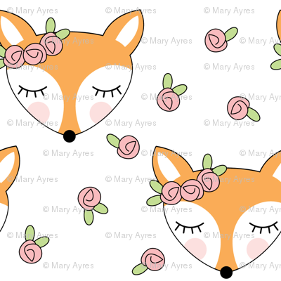 foxes-with-pink-rosebuds-on-white