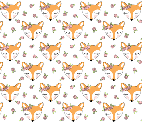 foxes-with-pink-rosebuds-on-white fabric by lilcubby on Spoonflower - custom fabric