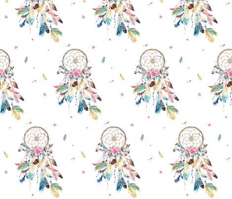 "7"" Bohemian Dreams / Free Falling Florals - White fabric by shopcabin on Spoonflower - custom fabric"