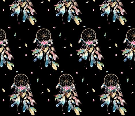 "7"" Bohemian Dreams / Free Falling / Black fabric by shopcabin on Spoonflower - custom fabric"