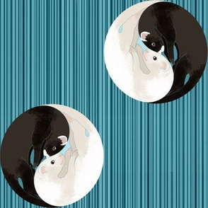 Polka Dot Yin Yang Ferrets on Blue Wood