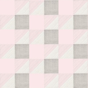 Pink and Grey Squares HandDrawn