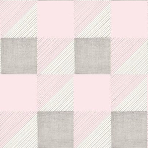 Pink and Gray in Pencil, Squares, Stripes, and Triangles