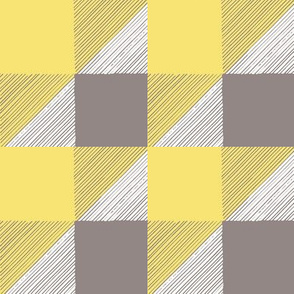 Pale Yellow and Gray BuffaloCheck HandDrawn