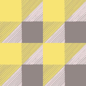 HandDrawn Pink and Yellow BuffaloCheck