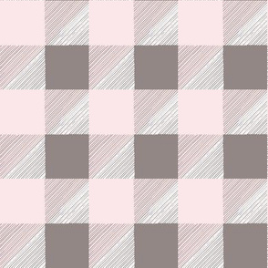 HandDrawn Pink and White BuffaloCheck