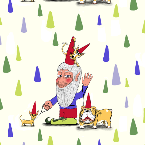 a gnome, two dogs and a cat, large scale, ivory ecru natural white cream  fabric by amy_g on Spoonflower - custom fabric