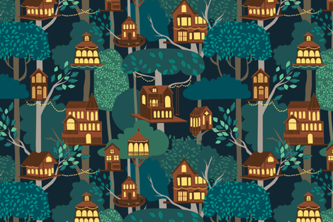 Tree Houses fabric by ceciliamok on Spoonflower - custom fabric