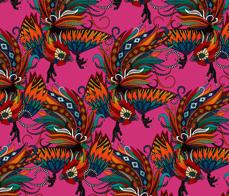 ROOSTER INK PINK fabric by scrummy on Spoonflower - custom fabric