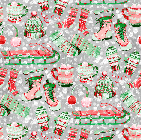So Much Snow! - red and green fabric by micklyn on Spoonflower - custom fabric