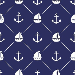 Anchors & Sailboats // Dark Navy Blue