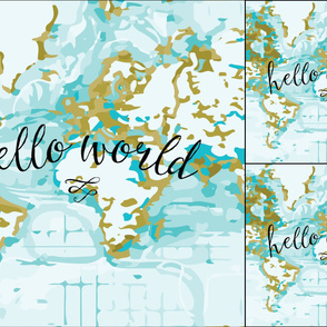 1 blanket + 2 loveys: Aqua Hello World