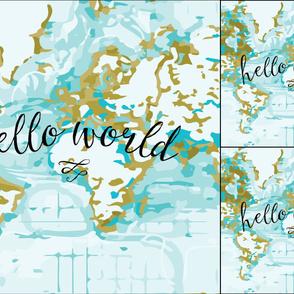 1 blanket + 2 loveys: Aqua Hello World