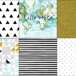 6 loveys: aqua hello world, black triangles, mustard linen, aqua kaleidoscope, black gouache stripe, black x