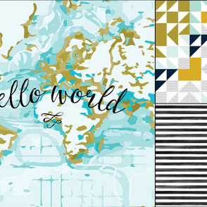 1 blanket + 2 loveys: Aqua Hello World, Aqua Kaleidoscope, Black Gouache Stripe