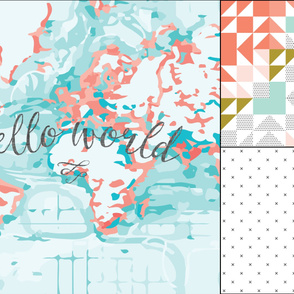 1 blanket + 2 loveys: coral hello world, black x, coral kaleidoscope