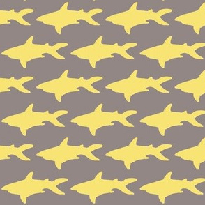 Yellow Shark Gray Background