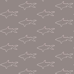 Pale Pink Shark Outline on Gray