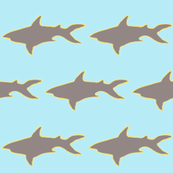 Grey Shark Yellow Outline Gray Background