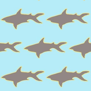 Grey Shark Yellow Outline Blue Background