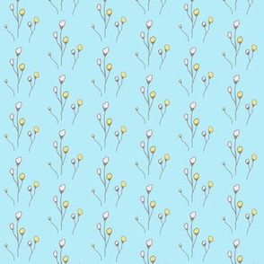Flowers on Blue Background HandDrawn