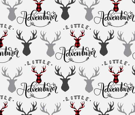 Little adventurer - 12 inch - Deer heads - buffalo plaid fabric by howjoyful on Spoonflower - custom fabric
