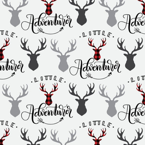 Little adventurer - 12 inch - Deer heads - buffalo plaid