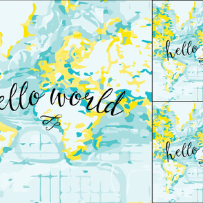 1 blanket + 2 loveys: yellow hello world