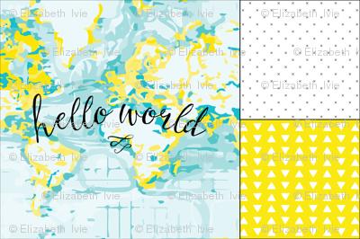 1 blanket + 2 loveys: yellow hello world, yellow hand drawn triangles, black x