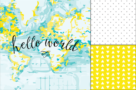 1 blanket + 2 loveys: yellow hello world, yellow hand drawn triangles, black x fabric by ivieclothco on Spoonflower - custom fabric