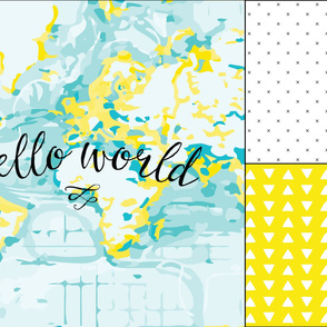 1 blanket + 2 loveys: yellow hello world, yellow hand drawn triangles, black x