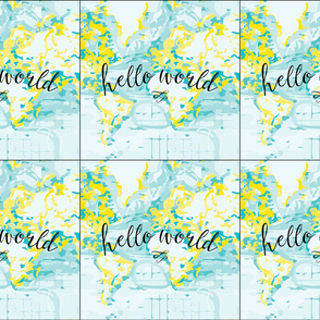 6 loveys: yellow hello world