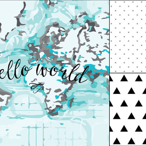 1 blanket + 2 loveys: black hello world,