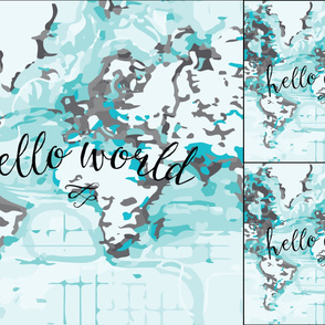 1 blanket + 2 loveys: black hello world