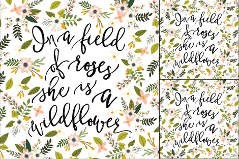1 blanket + 2 loveys: in a field of roses, she is a wildflower // blush sprigs fabric by ivieclothco on Spoonflower - custom fabric