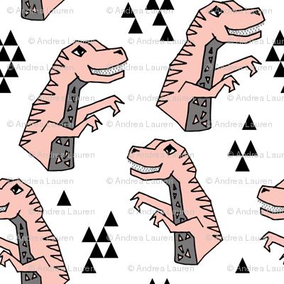 dinosaurs // pink dino fabric girls dinosuars design cute pastels pink dinosaur pink and grey