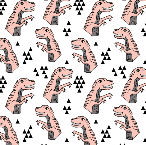 dinosaurs // pink dino fabric girls dinosuars design cute pastels pink dinosaur pink and grey fabric by andrea_lauren on Spoonflower - custom fabric