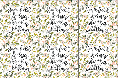 6 loveys: in a field of roses, she is a wildflower // blush sprigs fabric by ivieclothco on Spoonflower - custom fabric