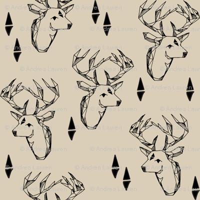 geometric deer head // khaki geo deer head fabric khaki fabric baby nursery nursery baby design andrea lauren fabric
