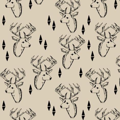 geometric deer head // khaki geo deer head fabric khaki fabric baby nursery nursery baby design andrea lauren fabric fabric by andrea_lauren on Spoonflower - custom fabric