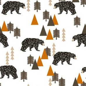 camping bear // white and orange baby boy nursery andrea lauren geometric bear nursery baby trees