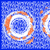 great lakes fish towel cobalt and orange