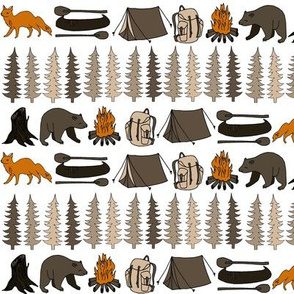camping bear // bear fabric tree fox andrea lauren fabric tree stumps canoe andrea lauren fabric