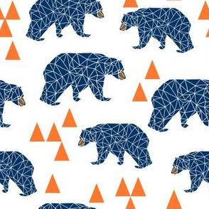 bear // geometric bear navy and orange fabric nursery baby design geometric bear design